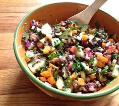 Lentil Salad with bell peppers, cilantro, and cucumbers. Made this for lunch this week and it's so filling, refreshing, and delicious!