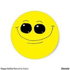 Happy Smiley Face 10 Classic Round Sticker