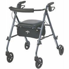 Medline Freedom Lightweight Folding Aluminum Mobility Rollator Walker with Wheels, Adjustable Arms and Seat, Smoky Blue Blue Health, Jeep Commander, Mobility Aids, Car Storage, Baby Strollers, Shoulder Strap, Freedom, Pouch, Medical