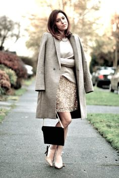 Love the softness of the beige paired with the sparkle of the skirt.