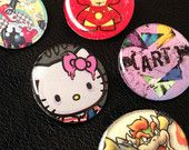 "Pop Pins!!!! by J.D. Shanley - The ""Art"" Pin is my design, but the other pins I create from pop culture characters I find in geek magazines and other sources :)"