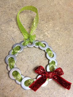 Inspired Whims: Metal Washer Christmas Ornaments (diy xmas ornaments holiday crafts) Christmas Ornaments To Make, Noel Christmas, Christmas Projects, Holiday Crafts, Christmas Decorations, Christmas Ideas, Glitter Ornaments, Cheap Christmas, Beaded Ornaments
