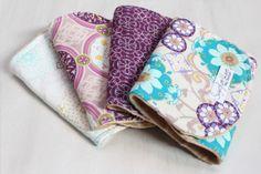 Set of 4 Blue and Purple Gem Minky Dot Burp Cloths on Etsy, $36.00