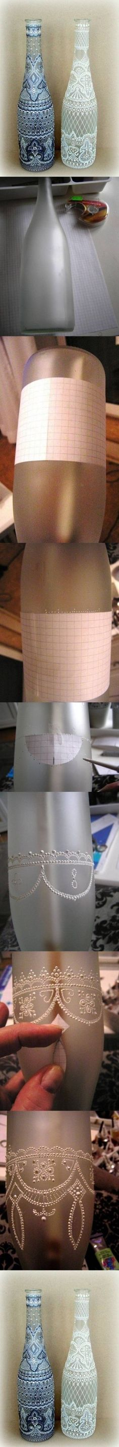 DIY Spot Painting Wine Bottle - cut off the bottom and place over a Candle Impressions flameless candle to make this a stunning lantern