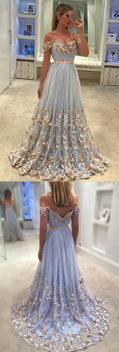 Unique tulle light blue long prom dress, tulle evening dress, tulle applique blue formal dress