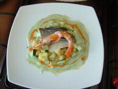 Daurade  homard et le  son  jus  de le  tète   petit legumes  braise  et  sauce  au fenouil . Gino D'Aquino