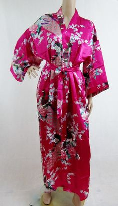 Hot Pink Silk LONG Bathrobe, House coat, kimono, dressing gown personalised custom bridesmaid bride mother of the bride