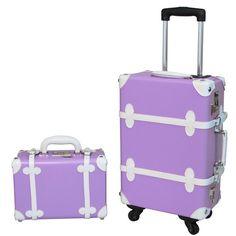 World Traveler 2-Piece Vintage Trunk Carry-On Spinner Luggage Set - Purple