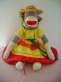 Sock Monkey Doll with Costume
