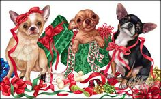 Chihuahua Christmas Cards are 8 x 5 and come in packages of 12 cards. One design per package. All designs include envelopes, your personal message, and choice of greeting. Teacup Chihuahua, Chihuahua Love, Christmas Animals, Christmas Cats, Xmas, Vintage Christmas, I Love Dogs, Cute Dogs, Dog Wrap