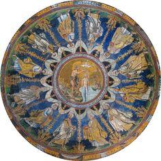 Baptisery of Neon Ceiling Mosaic, Ravenna, Italy Byzantine Art, Byzantine Icons, Early Christian, Christian Art, St Jean Baptiste, Ravenna Mosaics, Ravenna Italy, Baptism Of Christ, Art Through The Ages