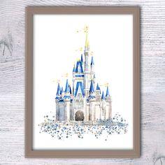 Disney Castle Watercolor illustration Disney wall art Disney