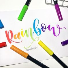 I just love rainbow colors Marker from dual brush markers Hand Lettering 101, Hand Lettering For Beginners, Hand Lettering Tutorial, Creative Lettering, Lettering Styles, Brush Lettering, Lettering Design, Brush Pen Calligraphy, Calligraphy Video