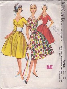 MOMSPatterns Vintage Sewing Patterns - McCall's 4965 Vintage 50's Sewing Pattern DIVINE Risque Deep V Neckline Center Seamed Rockabilly Cocktail Party Dress, Full Skirt, Easy Size 12