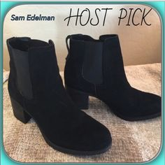 "Sam Edelman 🌟Like New Black Suede Ankle Boots Sam Edelman Black Suede chunky Heeled Ankle Boots!  Gorgeous Boot with Lycra inset for ease of pull-on style! Padded Footbed and Rubber Traction Sole!  Heel Measures 2.75"" and measures 7.75"" Height! 💝💝💝 Like New.. Only worn in the store! Sam Edelman Shoes Ankle Boots & Booties"