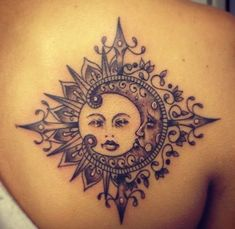 think this would be cool painted on a piece of furniture/Sun and Moon tattoo | Moon and Stars