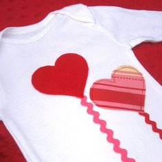 Items similar to Valentine's Hearts- onesie/ bodysuit on Etsy Valentine Shirts, Valentine Heart, Valentine Crafts, Sewing Patterns For Kids, Sewing For Kids, T Shirt Diy, Applique Designs, Holiday Outfits, Embroidery Applique