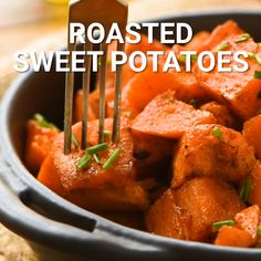 Roasted Sweet Potatoes are an easy side dish recipe perfect for busy weeknights! These sweet potatoes are diced, then seasoned and roasted in the oven. Sweet Potato Oven, Sweet Potato Side Dish, Oven Roasted Sweet Potatoes, Cooking Sweet Potatoes, Potato Sides, Potato Side Dishes, Side Dishes Easy, Side Dish Recipes, Breakfast