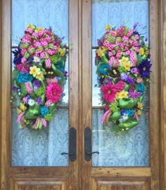 Closeup of Spring Swags on double doors