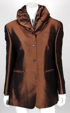 ROMEO GIGLI Vintage Metallic Bronze Wool Blend Sateen Coat 44 #RomeoGigli #BasicCoat