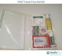 I have always thought it would be a good idea to have a small first aid kit in my vehicle.  Have you seen how expensive they can be?  Since I am a cheapskate, I decided to make my own from an empty VHS case and dollar store supplies. Now I can be prepared and it only cost a few dollars.