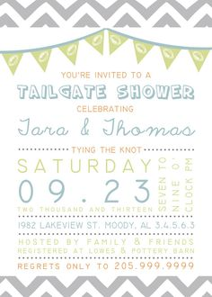 Printable Custom Personalized Tailgate Couples Shower Invitation, Bridal or Wedding Shower, Football Theme, Tailgating Fun