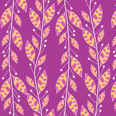 Bouquet Leaves (Purple) by robyriker on Spoonflower