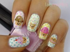 Cupcake nails! Darling Art Class water decals at BBU ~ Lab Muffin cute cupcake nailart happy pastel blue yellow rose green white sweets nail manicure