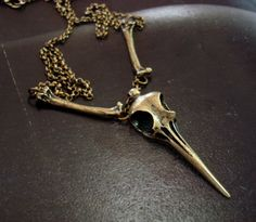 Gothic Bird Skull And Bones in Bronze Ox Necklace, HummingBird With Unique Bone Connectors, Skull Shock Art