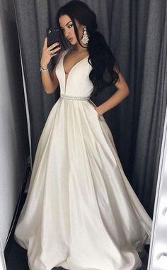 A-line/Princess Prom Dress,V-neck Simple Prom Dress,Cheap prom Dress,Long Prom Dresses with Pocket