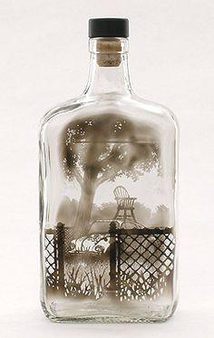 """Jim Dingilian """"Shade tree and piggyback""""(2012) smoke iside empty glass bottle"""