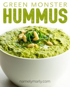 Best Vegan Green Hummus Recipe - This Best Vegan Green Hummus Recipe makes a flavorful spread or dip to serve with chopped veggies o - Low Carb Appetizers, Appetizer Recipes, Snack Recipes, Dinner Recipes, Cooking Recipes, Appetizer Ideas, Free Recipes, Savory Snacks, Vegan Snacks