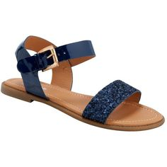 Navy Blue Glitter Sandals ($15) ❤ liked on Polyvore
