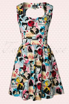 "The 60s Kiss Me Love Dress by Retrolicious is a super cute vintage 60s inspired dress in a loving cartoon print: every dress is unique!  The fitted top has a beautiful sweetheart neckline with wide straps and an eyecatching heart cut out detail at the back, só sweet! (and your bra is not visible!). Made from a non-stretchy 100% cotton with kissing lovers, red hearts and quotes such as ""True Love"" and ""Kiss Me"". In the waist it features a wide band from which it is ..."