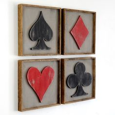 Framed Playing Card Set Four Piece Set Game Room Decor Pocker by SlippinSouthern on Etsy https://www.etsy.com/listing/255763699/framed-playing-card-set-four-piece-set