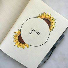 sunflowers for june bullet journal theme Sonnenblumen für Juni Kugel Journal Thema Bullet Journal Dreaming Bullet Journal School, Bullet Journal Flip Through, Bullet Journal Notebook, Bullet Journals, August Bullet Journal Cover, Bullet Journal Headings, Bullet Journal Months, Bullet Journal Title Page, Bullet Journal Lists