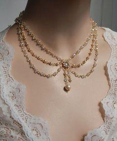 Victorian Bridal Necklace Vintage Necklace por mylittlebride                                                                                                                                                                                 Más