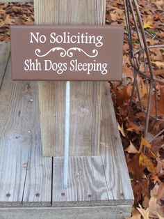 No Solciiting Shh Dogs Sleeping Wood Vinyl Sign - Pet Lover Home Decor Stake Sign Lawn Ornament