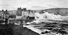 Tour Scotland Photographs: Old Photograph Storm Waves Portpatrick Scotland