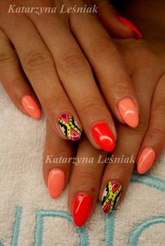 by Kasia Leśniak, Double Tap if you like #mani #nailart #nails #neon Find more Inspiration at www.indigo-nails.com