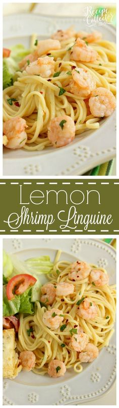 Lemon Shrimp Linguine - A quick and easy pasta recipe filled with shrimp, a light lemon and garlic sauce, and red pepper flakes for a little bite.