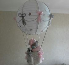 Tatty Teddy in Hot Air Balloon Light Shade   pink/grey  Made to Order