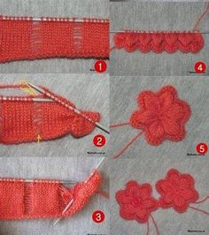 Tina's handicraft : 20 differently knitting tips Knitted Flower Pattern, Knitted Flowers, Flower Patterns, Fabric Remnants, Mesh Wreaths, Square Quilt, Handicraft, Free Pattern, Knit Crochet