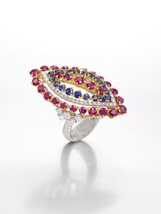 'Paisley' collection: white gold, sapphires, rubies and diamonds.