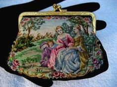 this petit point coin purse was European made during the approx. 1930 - 1940 era.