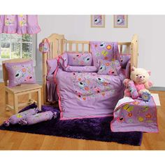 Swayam Complete Baby Crib set 7 Pieces - Purple