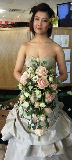 bridal shower cascade bouquet. wedding flowers by fleur couture floral design www.fleurcouturefloral.com
