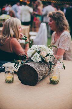 South Carolina Wedding by Angela Cox - Southern Weddings Tree Stump Centerpiece, Candle Wedding Centerpieces, Unique Centerpieces, Wedding Decorations, Tall Centerpiece, Wedding Table, Fall Wedding, Our Wedding, Dream Wedding