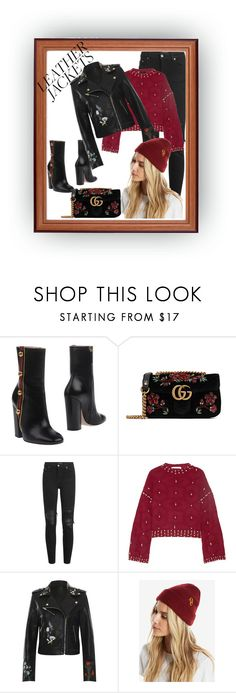 """""""Leather jacket"""" by callmerose ❤ liked on Polyvore featuring Gucci, AMIRI, Jonathan Simkhai, WearAll and Warner Bros."""
