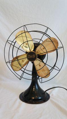 Diehl Brass Blade Fan Antique Fans, Vintage Fans, Vintage Table, Industrial Fan, Industrial Design, Candle Power, Fan Image, Fans For Sale, Garage Sale Finds